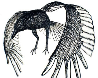 Black Raven in Flight - Wire and Glass Sead Bead Sculpture