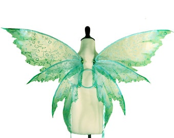 Bella No. 33 - Large Organza Fairy Wings in Aqua Glitter Swirl and Green - Convertible Strapless