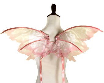 Delaney No. 12 - Small Organza Fairy Wings in Pink - Strapless Convertible