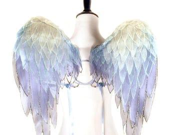 Magical Yellow, Green, Blue Organza Angel Wings - Wearable Art Wings, Costume, Cosplay