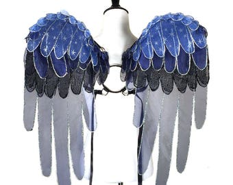 Princess Luna Glitter Organza Pegasus Wings - My Little Pony - Friendship is Magic - Wearable Art Wings, Costume, Cosplay