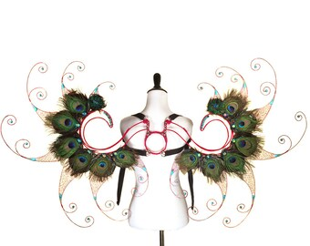 Large Fantasy Wings - Red Wire, Turquoise and Peacock Feathers
