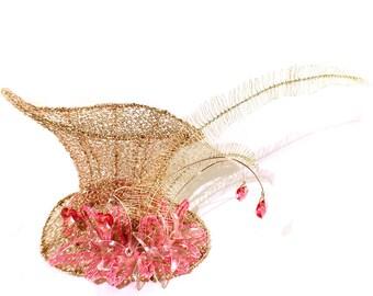 Charming Pink Wire and Crystal Flower Mini Top Hat - Gothic Lolita, Mad Hatter, Steampunk Wedding, Victorian Wedding, Derby Facinator