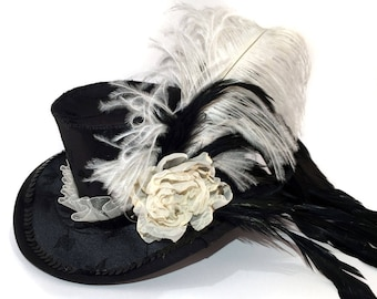 Black Satin with Embroidered Leaves Romantic Mini Top Hat - Gothic Lolita, Mad Hatter, Steampunk Wedding, Victorian Wedding, Derby Facinator