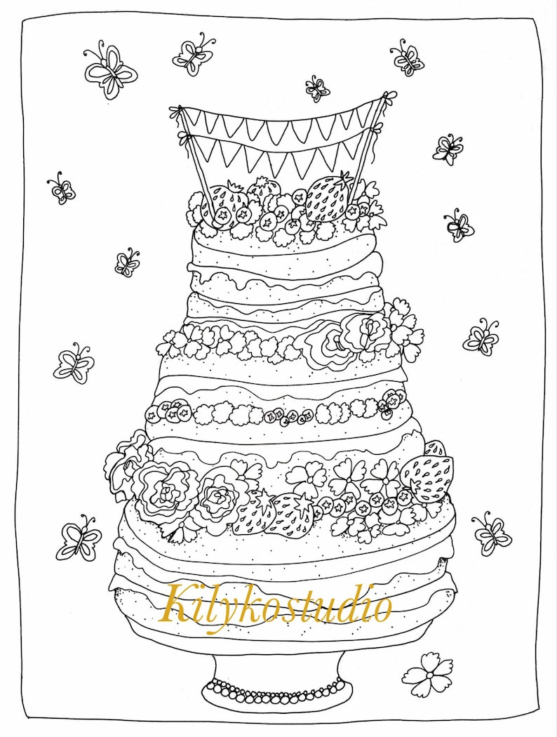 Strawberry cake adult coloring page diy art instant ...