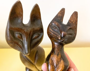 FREE SHIPPING - Vintage Wood Carved MCM Cat Duo - Pair