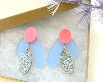 Pink and Blue Laser Cut Acrylic with Glitter Dangle STUD Earring