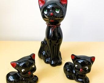 FREE SHIPPING - Vintage ceramic MCM Cat trio