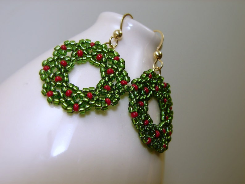 Christmas Wreath Earrings Glass And Gold Filled Etsy