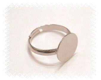 BULK LOT of 50 Silver Tone 12mm Glue Pad Adjustable Ring Blanks