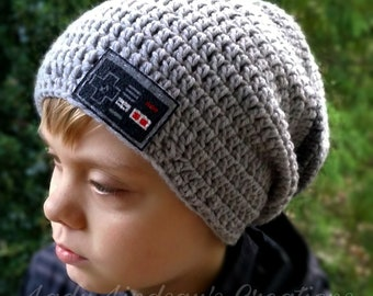 Videogame controller beanie slouchie slouch hat