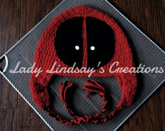 Deadpool inpired beanie hat with ear flaps