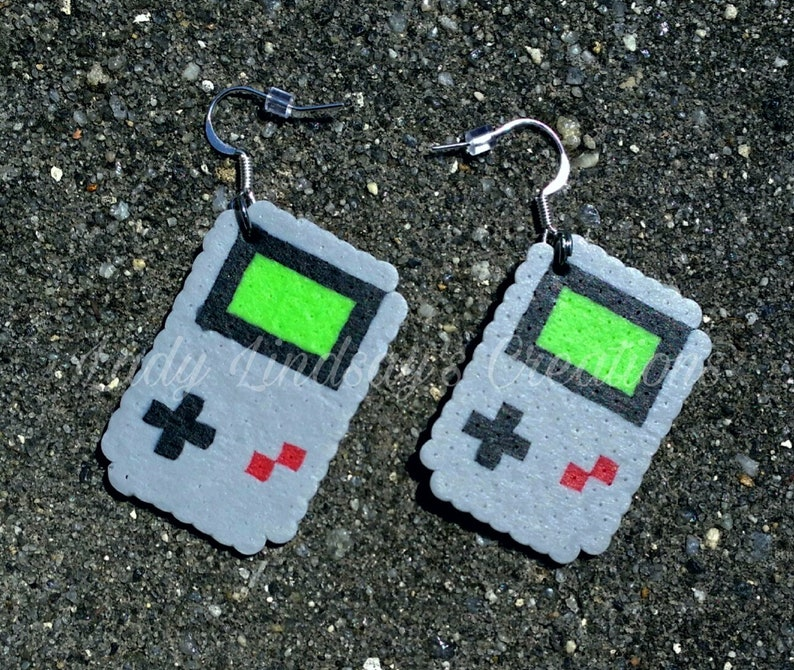 Classic Portable Gaming Console Pixel Earrings Retro Gamer image 0