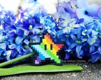Rainbow Star Super Mario Bros Perler Pixel Sprite 8-Bit Magnet