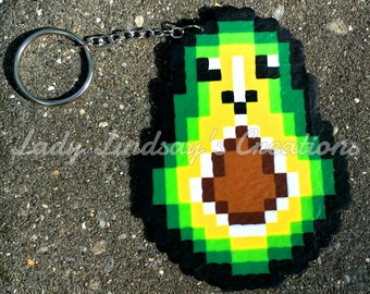Mr. Avocado Pixel Perler/hama bead Sprite keychain