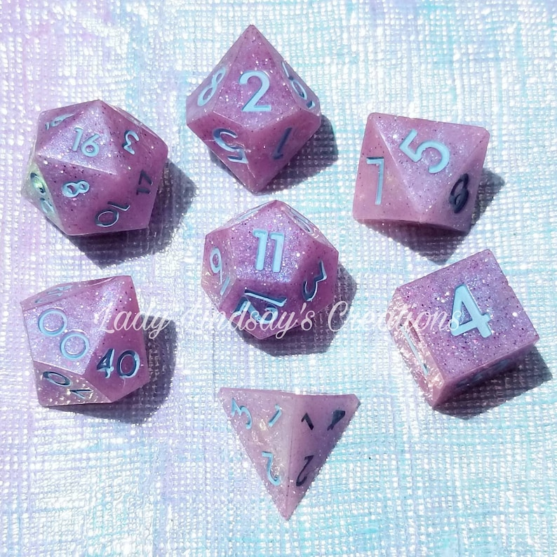 Unicorn themed Dungeons and Dragons DnD dice set OR single die image 0