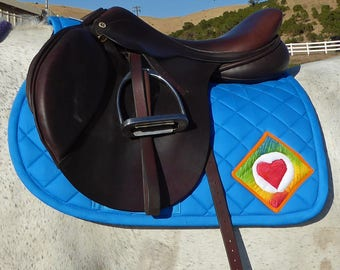 Saddle Pad, English AP, Peacock Blue with Batik Medallions from The Summer Love Collection LA-78