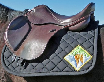 Black English Saddle Pad with Batik Medallions for All Purpose Saddles from The 24 Carrot Collection CA-74