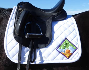 Dressage Saddle Pad White with Batik Medallions for English Saddles from The 24 Carrot Collection CD-70