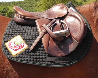 Black Saddle Pad for Jumping and Cross Country with Chili Peppers HA-81