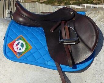 English AP Saddle Pad in Peacock Blue with Batik Medallions from The Summer Love Collection LA-78
