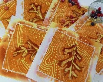 Leaf series 1, Batik Medallions for Quilting Applique Embellishment Saddlepads Wearable Art