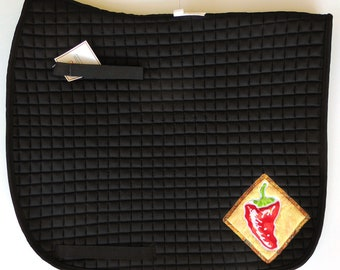 Black Dressage Saddle Pad with Chili Pepper Medalions.  HD-88
