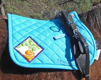 Aqua Blue Pony Saddlepad with Batik Medallions. For English Saddles from The Carrot Collection CP-78