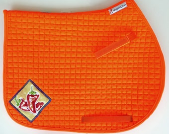 Saddle Pad with Batik Medallions for AP and Jumping Saddles Orange HA-83
