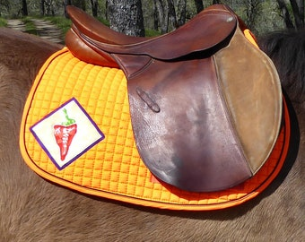 Pony Saddle Pad, Safety Orange, for English Riding, Instantly Fun Chilli Pepper Medalions HP-87