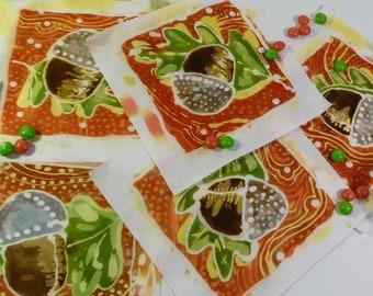 Batik Acorn and Leaf Meadlions, Series 1, for Applique, Collage, Embellishment