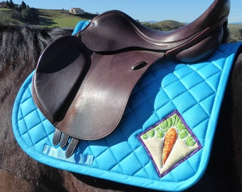 Aqua Blue Saddle Pad with Batik Medallions for English AP Saddles from The 24 Carrot Collection: CA-77