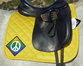 Yellow Dressage Saddle Pad for English saddles, 60s Retro Batik Medallions from The Summer Love Collection LD-74