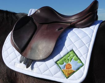 English Saddle Pad in White with Batik Medallions from The 24 Carrot Collection CA-76