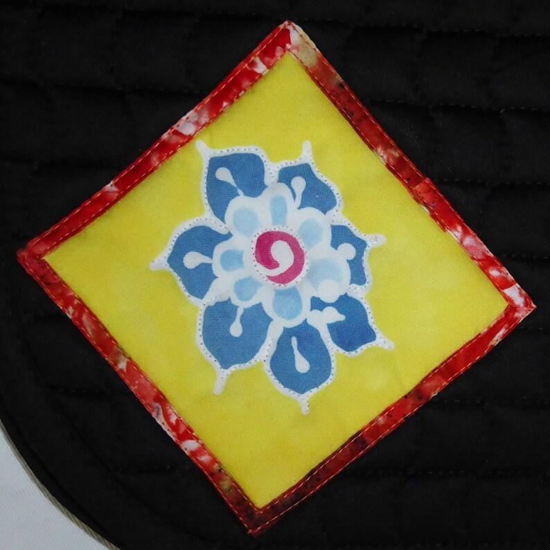 Saddle Pad for Dressage Black with Batik Flower medallions image 0