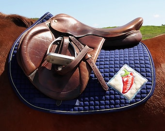 Saddle Pad for AP Saddles, Navy, with Batik Art Chili Peppers HA-84