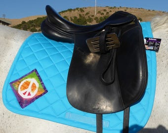 60's Retro Blue Dressage Saddlepad with Batik Medallions from The Summer Love Collection LD-73