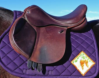 Purple Saddlepad with Batik Medallions for All Purpose English Saddles from The Carrot Collection CA-75