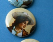 4 Vintage Cowboys and a Cowgirl - 1 inch pinback buttons