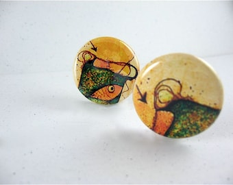 Five Little Fish Fridge Magnets / Abstract / Green, Yellow and Brown / for magnabilities