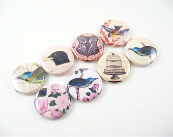 8 fridge magnets / Birds, Wings and a Cage / Magnabilities pink neutral butterfly wing 1173
