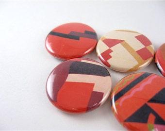 5 Fridge Magnets / Red Pop Art / Geometric Delight Abstract