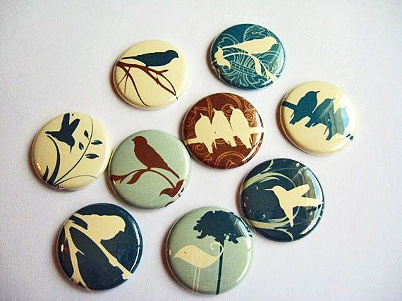 blue Wine Charms Home /& Living Pins 9 Bird Fridge Magnets Organization brown and vanilla 1114 silhouette Kitchen