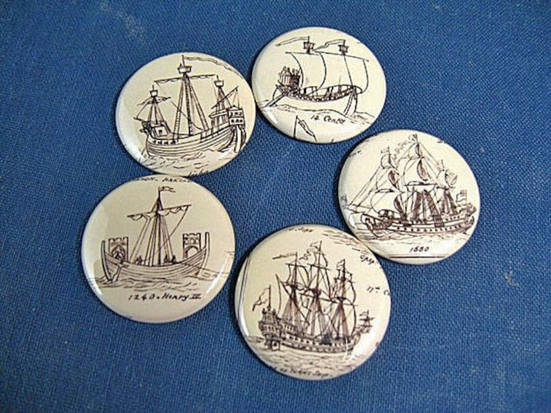 1  one inch button magnets 1151 Pins  nautical ships set no Ship Magnet Set