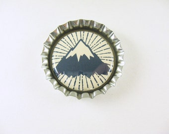 Mountain Bottle Cap Magnet - blue cream