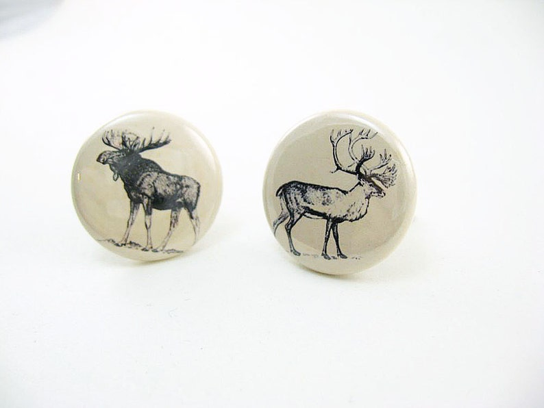 1 inch buttons moose and caribou Nature Cufflinks