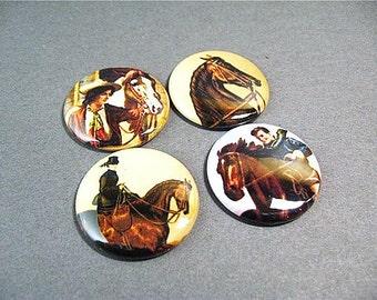 4 Fridge Magnets Horses Equestrian Cowboy Compatible with Magnabilities
