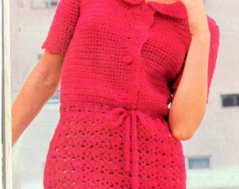 Vintage Crochet Dress with Peter Pan collar pattern -  (NHK98)