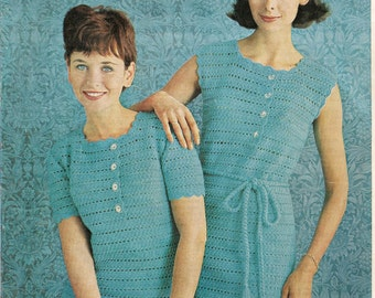 Vintage Crochet Sleeveless Dress Pattern - On Right