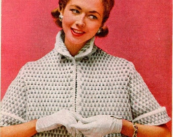 Vintage Short Knitted Bulky - Cardigan Pattern (SNH117)